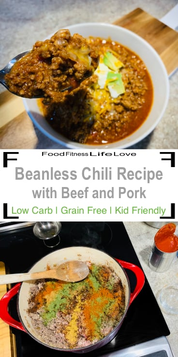 Beanless Chili Recipe Pin