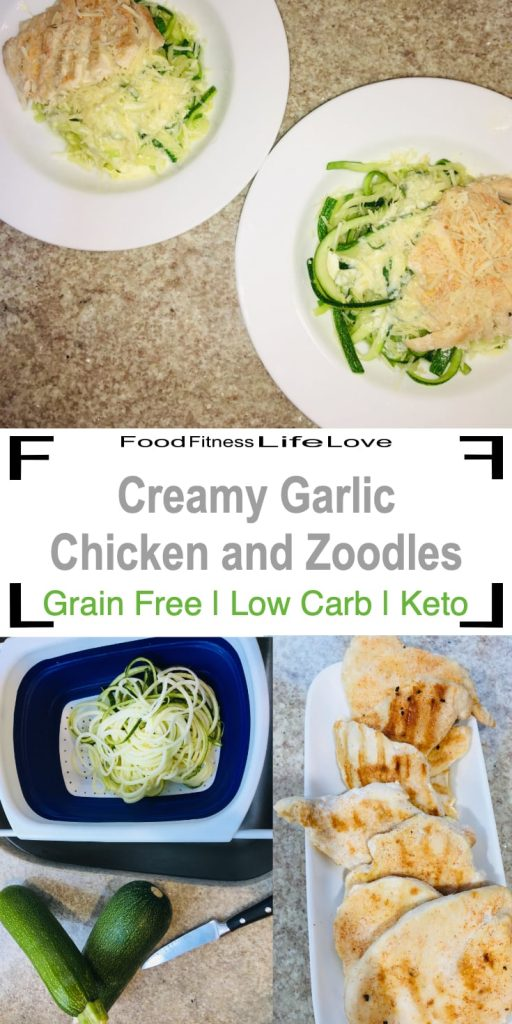 Creamy Garlic Chicken and Zoodles Pin