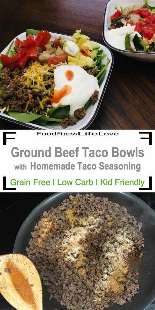 Ground Beef Taco Bowl Pin