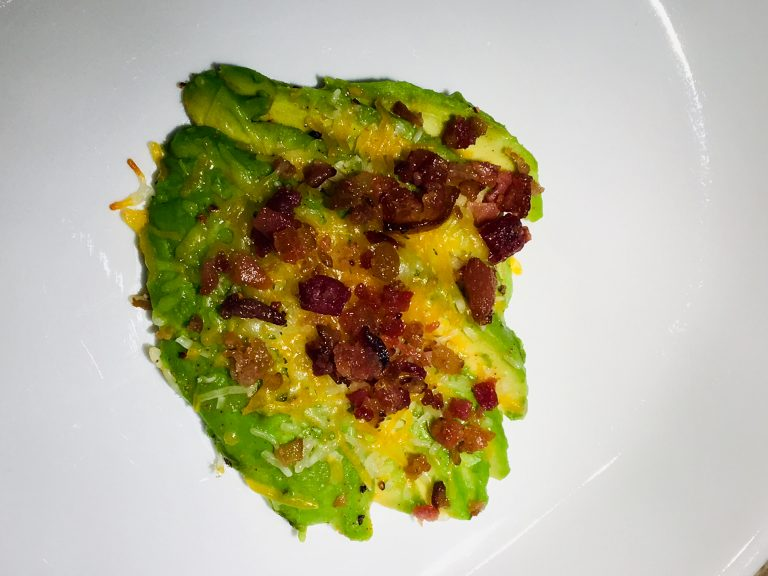 Broiled Avocado Bacon and Cheese