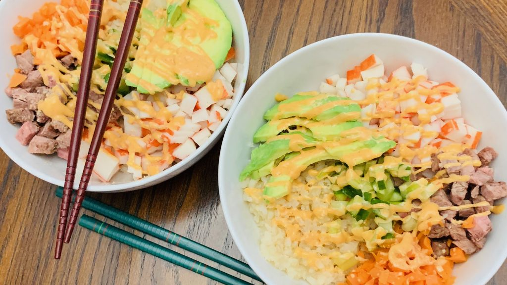 Low Carb Cauliflower Rice Sushi Bowls