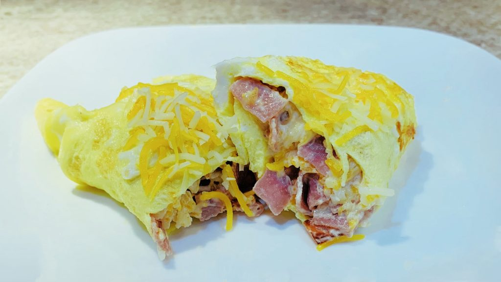 Ham and Cheese Omelettes with Cream Cheese