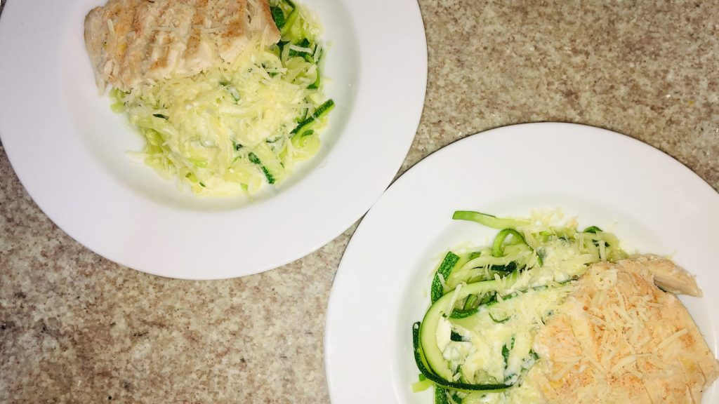 Creamy Garlic Chicken and Zoodles