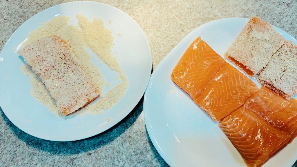 Salmon dredged in Almond Flour