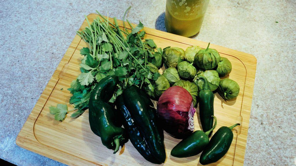 Cilantro, Tomatillos, Jalapeños, Onion, Salsa Verde, Poblanos