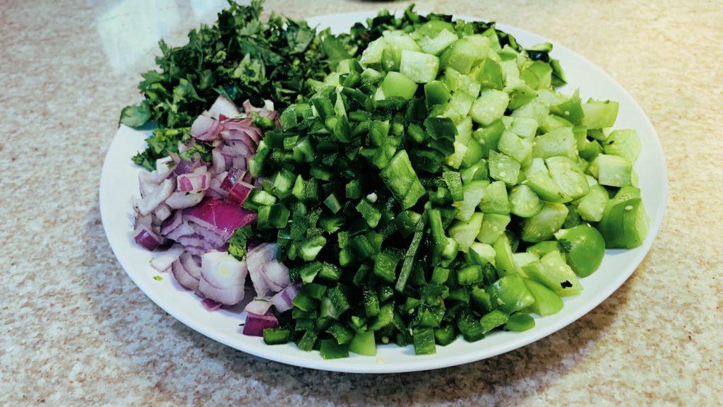 Chopped Onion, Cilantro, Tomatillos, Chilis