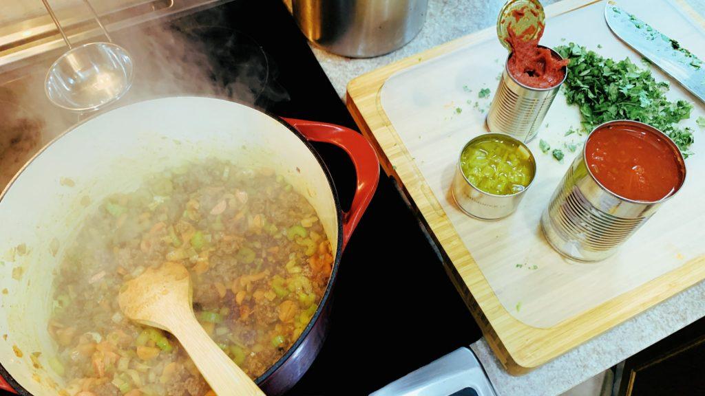 Chorizo, Vegetables, Tomatoes and Green Chilis