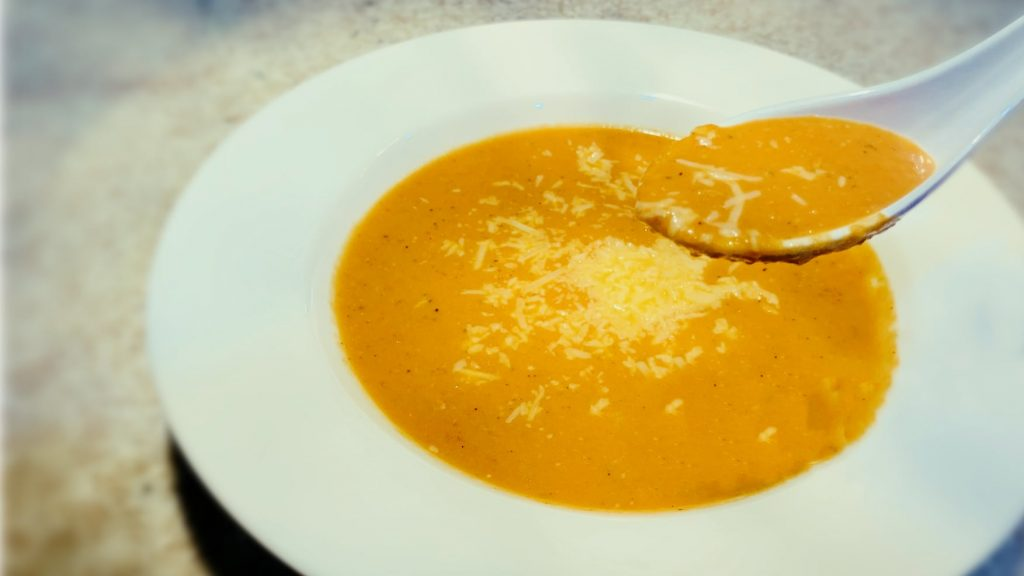 Homemade Tomato Bisque Soup with Parmesan
