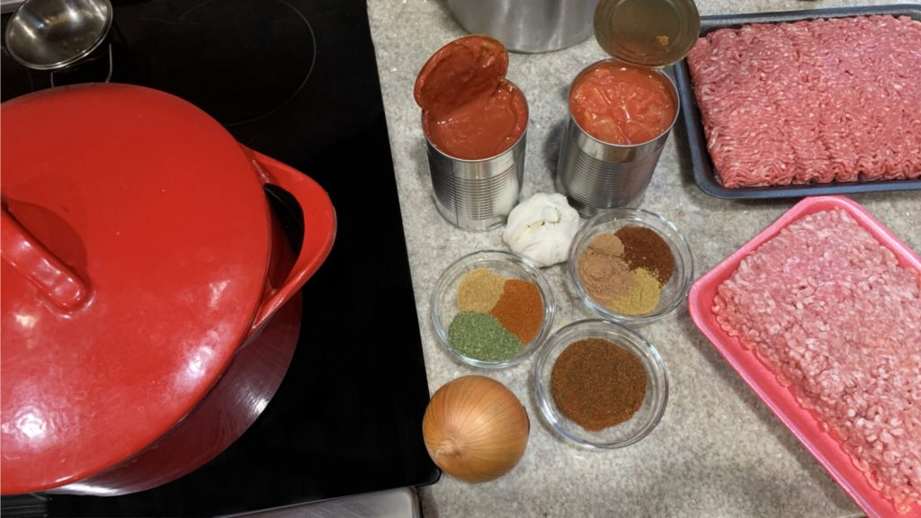 Spices, Meat and Tomato Sauce