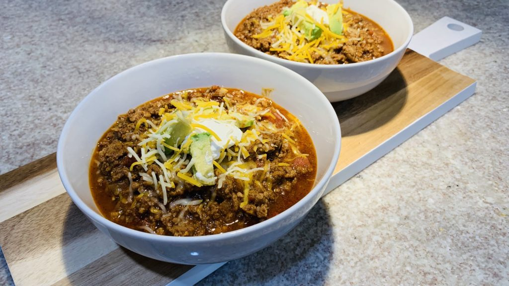 Beanless Chili with Toppings