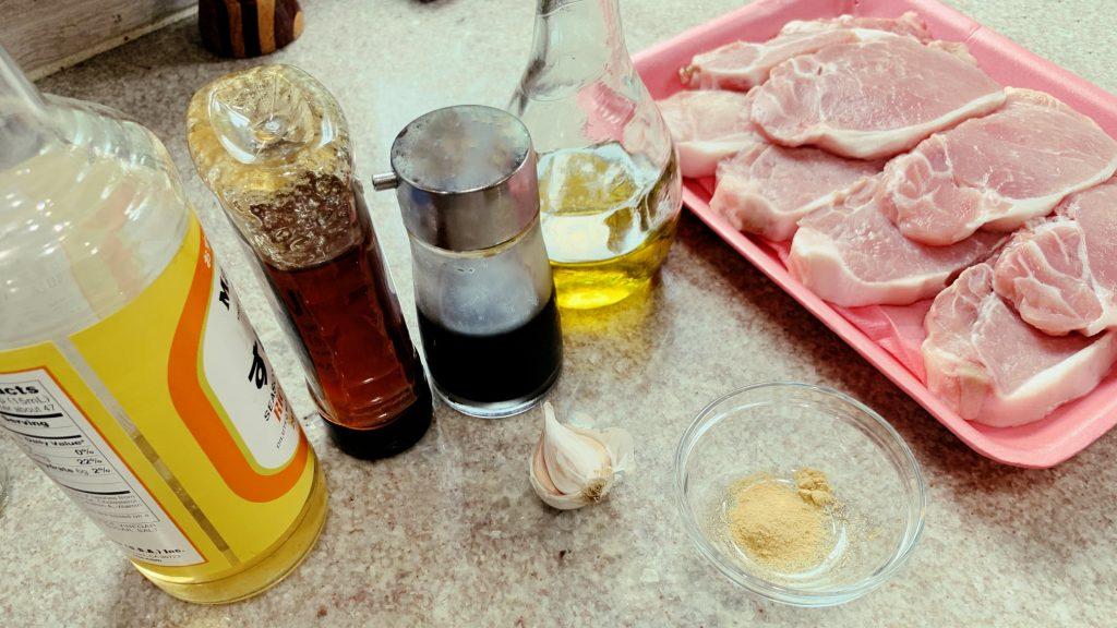 Pork Loin Chops, Soy, Ginger, Garlic
