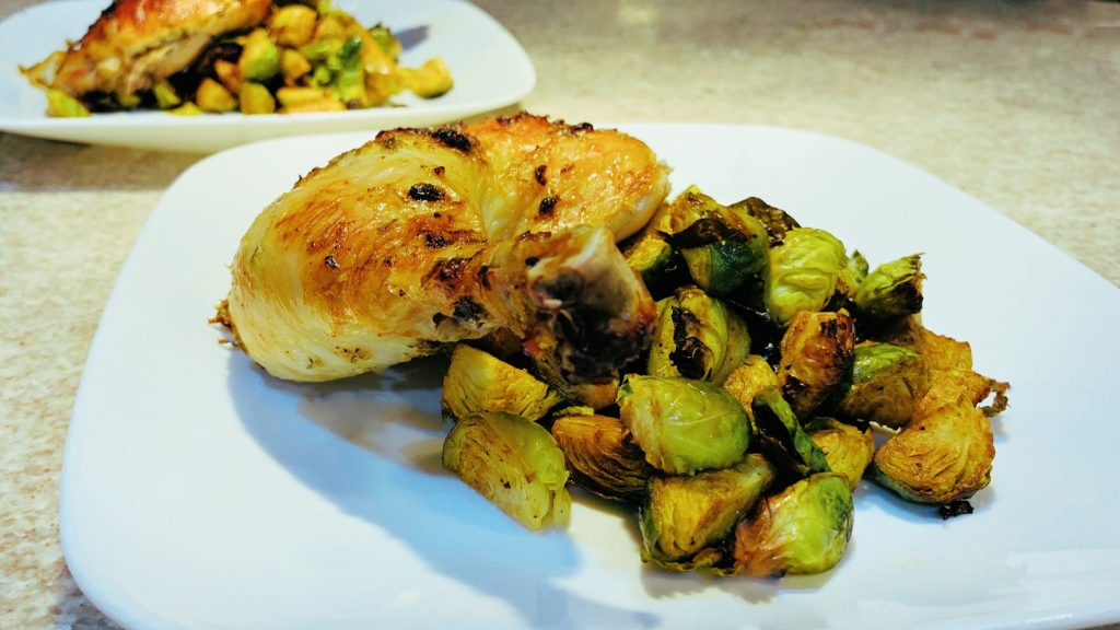 Balsamic Roasted Brussel Sprouts with Chicken