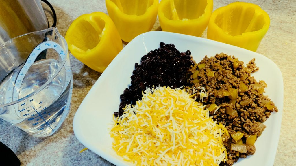 Ground Beef, Black Beans, and Cheese Stuffed Pepper Filling