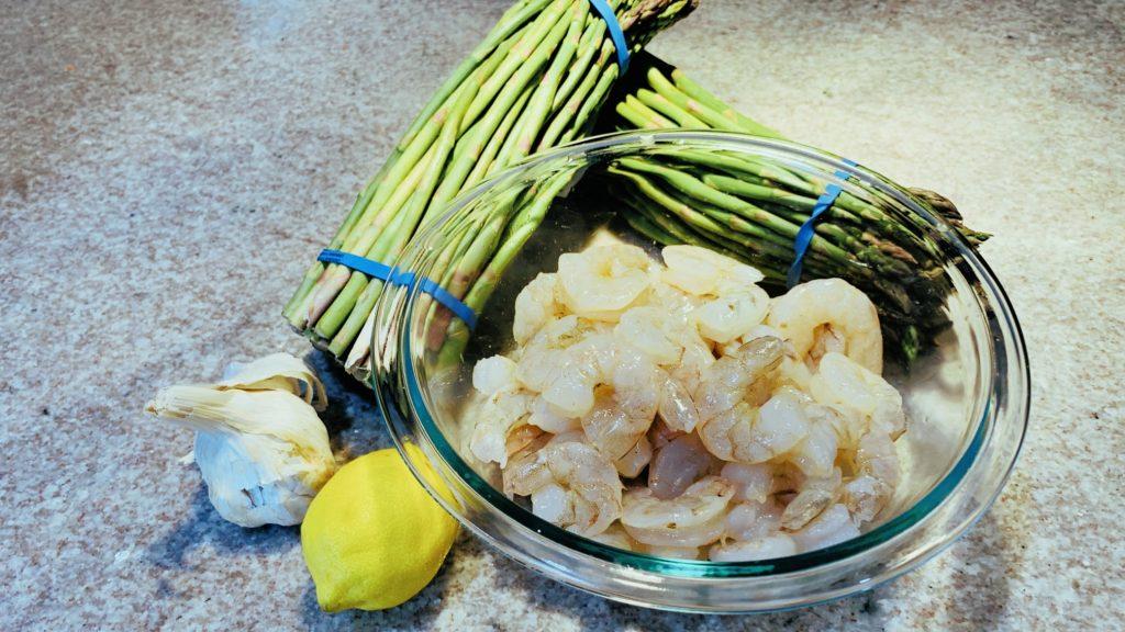 Asparagus, Shrimp, Garlic, Lemon