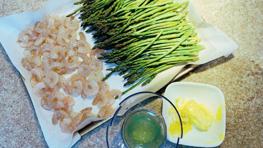 Garlic Lemon Compound Butter Shrimp and Asparagus