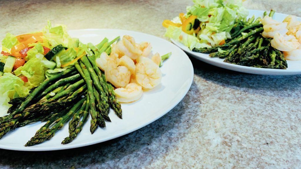Sheet Pan Shrimp and Asparagus with Salad