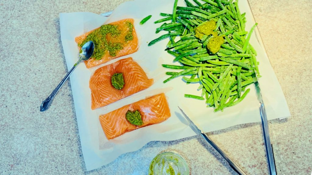 Salmon and Green Beans with Pesto