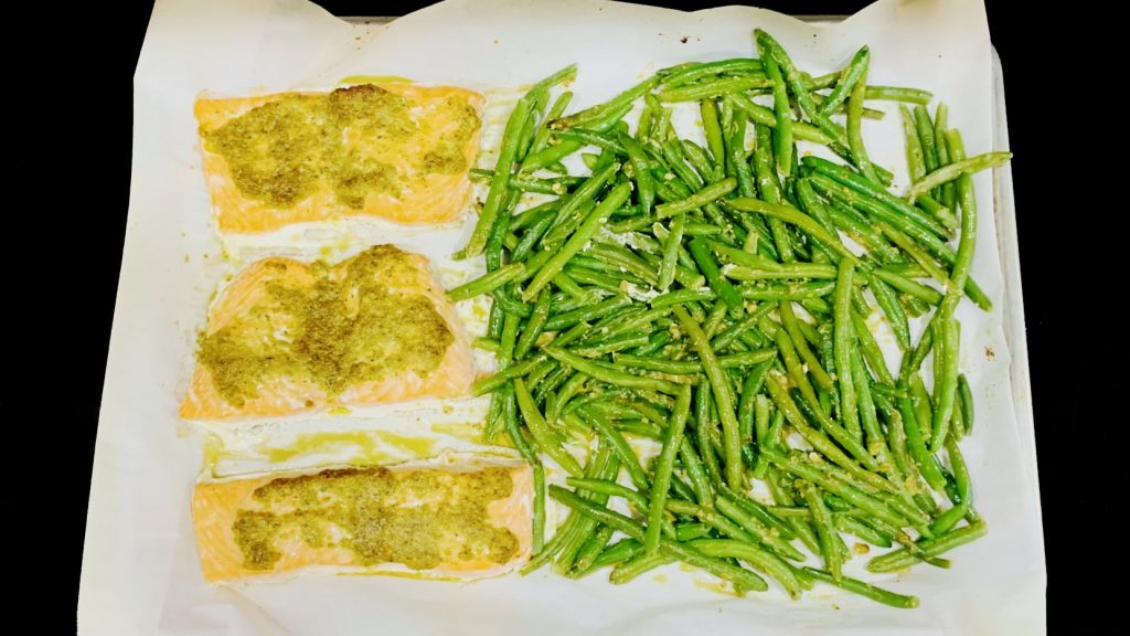 Sheet Pan Pesto Salmon and Green Beans