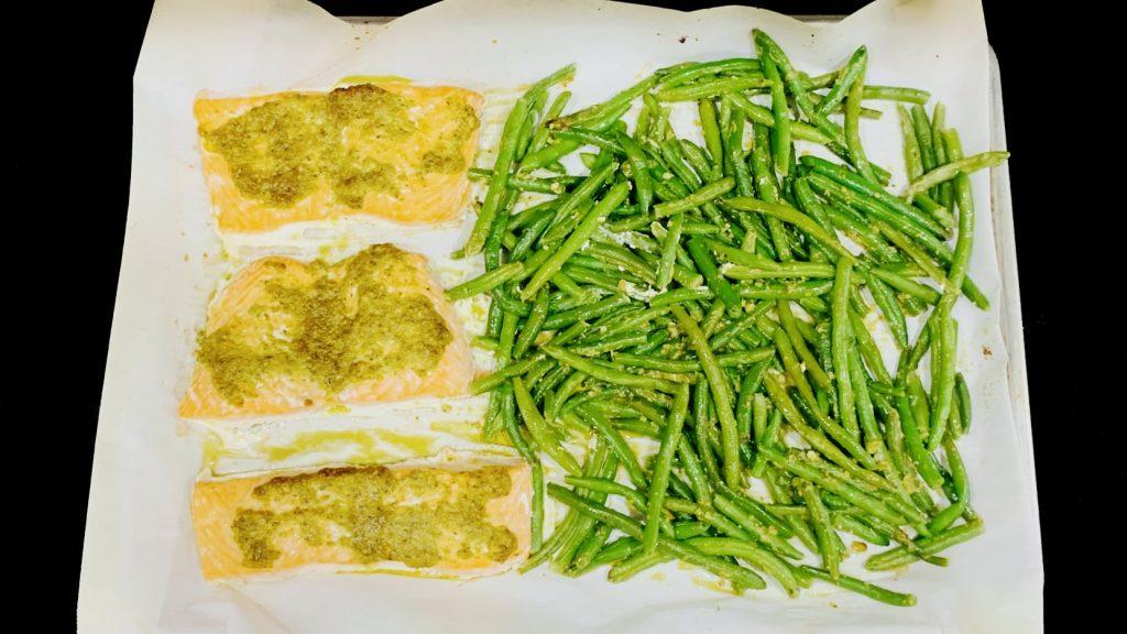 Sheet Pan Pesto Salmon and Green Beans