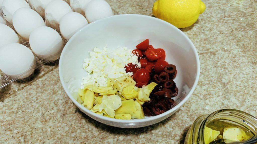 Feta, Tomato, Artichoke and Olive Frittata Filling
