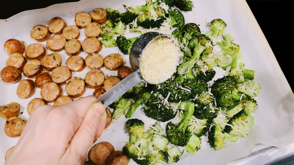 Roasted Broccoli and Sausage with Parmesan