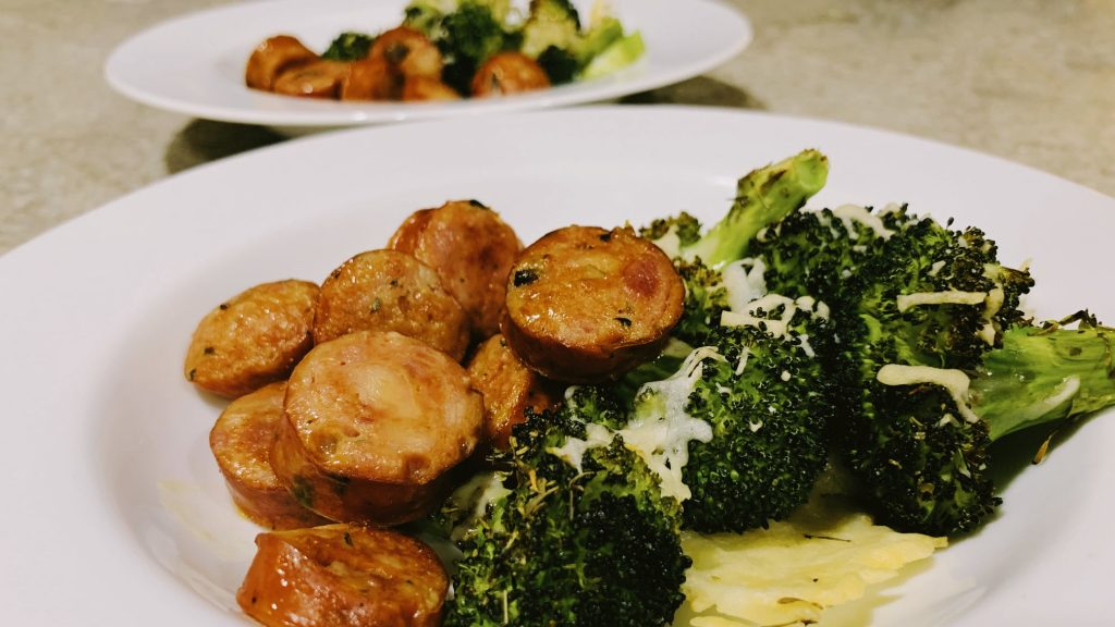 Aidells Chicken Sausage with Roasted Broccoli