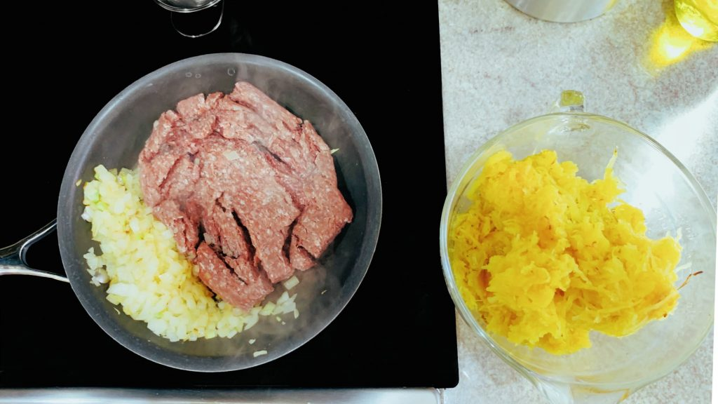 Onions, Ground Beef and Spaghetti Squash