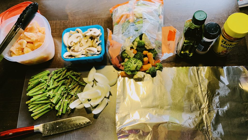 Chicken, Vegetables, and Foil