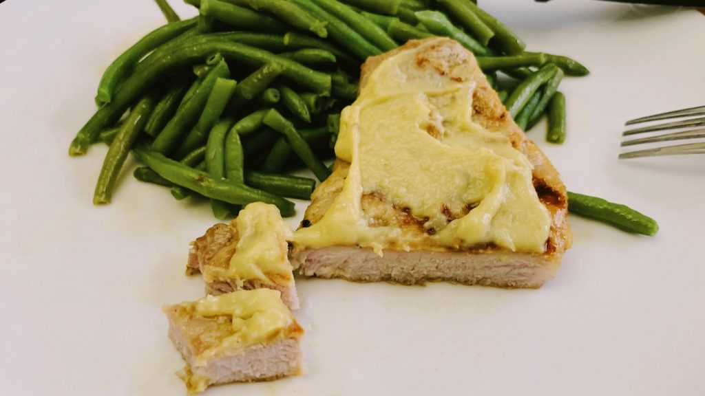 Bites of Grilled Pork Chops with Homemade Garlic Spread