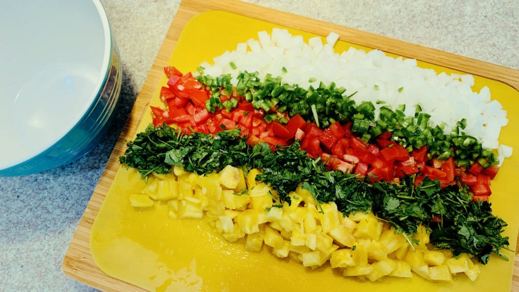 Chopped Onion, Jalapeno, Tomato, Cilantro, and Pineapple