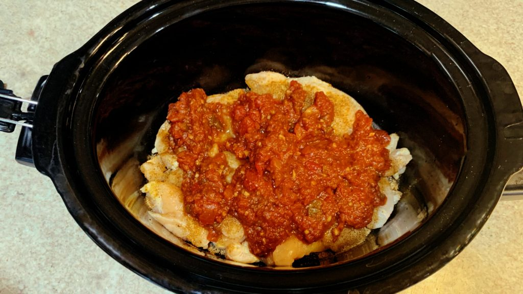 Chicken and Salsa in Slow Cooker