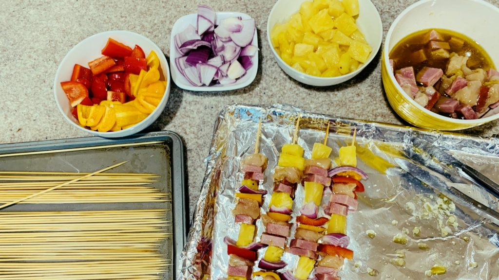 Shish Kabobs with Pepper, Onion, Pineapple, Chicken and Ham