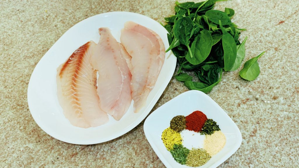 Rockfish Fillets and Baby Spinach