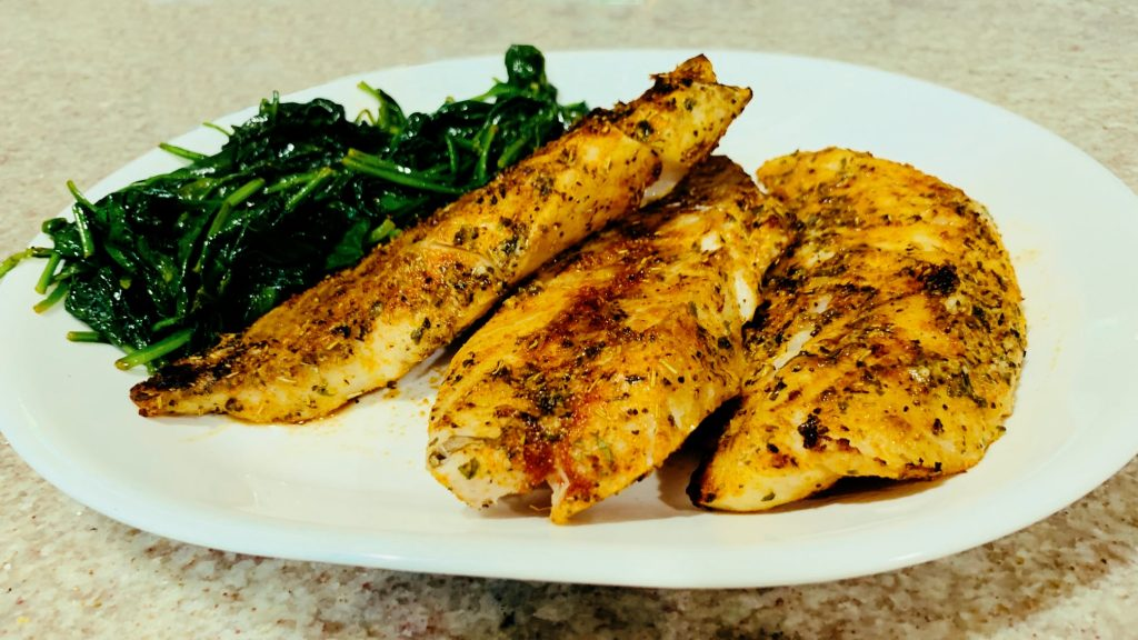 Grilled Rockfish with Wilted Spinach