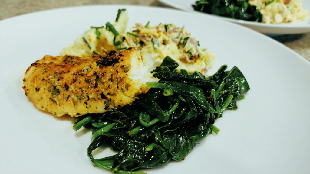 Herb Crusted Rockfish with wilted Spinach and Cauliflower Salad