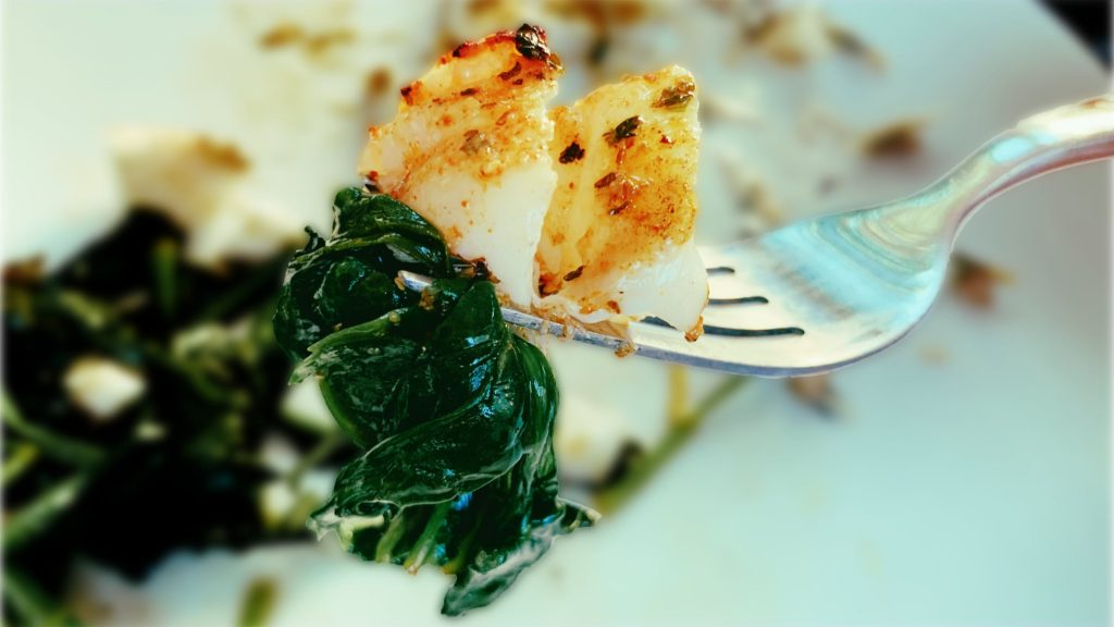 Wilted Spinach and Grilled Rockfish Recipe