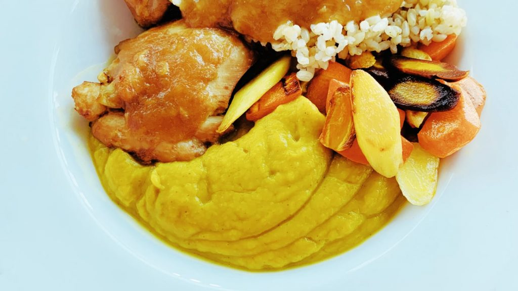 Thai Butternut Squash Puree with Chicken, Rice and Carrots